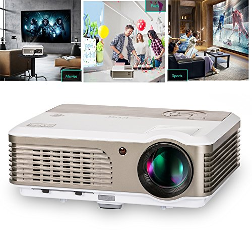 Video Projector- 2600 Lumens LED HDMI 1080P Multimedia- for Home Theater Cinema Movie Video Games Party iPhone iPad Laptop Smartphone TV Blu-ray DVD  Google Player by EUG