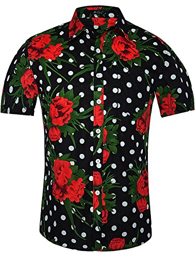 XI PENG Men's Casual Dress Cotton Polka Dots Short Sleeve Fitted Button Down Shirts (X-Large, Black Polka Dot Red Flower) (Flower Shirts Red)