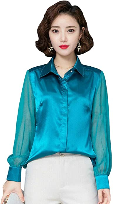 Mujer Blusa de Seda Satinada Camisa Verana Malla Manga Larga ...