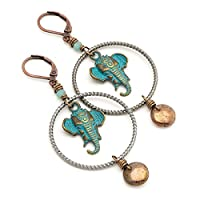 Elephant mixed metal vintage patina Czech glass lever-back earrings