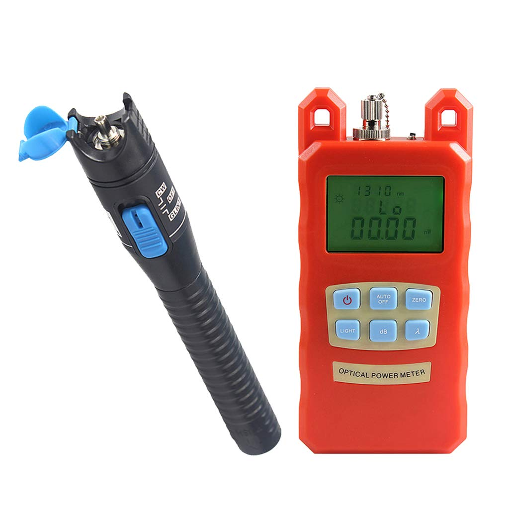 SM SunniMix Pack -70dBm~+10dBm 850~1625nm Optical Power Meter Tester FC SC Handheld Optical Power Meter + 1mW Visual Fault Locator Pen