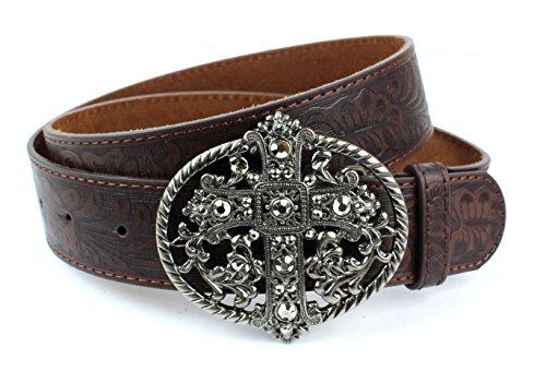 Scrollwork Cross (Western Embossed Scrollwork Leather Belt Vintage Cross Oval Buckle (Brown L))