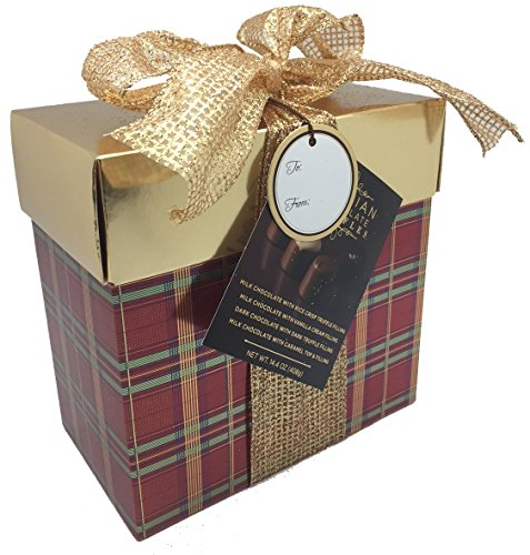 Belgian Chocolate Truffles in Gold and Plaid Box - 14.4 Ounce
