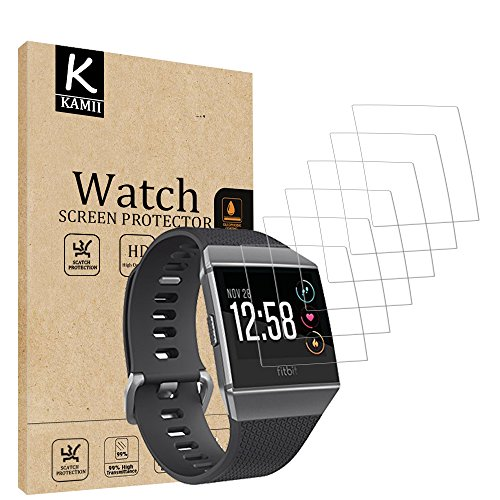 (6 PACK) Fitbit Ionic Screen Protector, KAMII [Full Coverage] [Case Friendly] [Not Glass] HD Clear Anti-Fingerprint Touch Protective Anti-Bubble Film Screen Protector for Fitbit Ionic Smart Watch