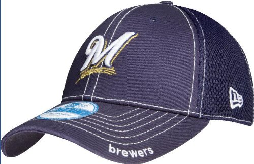 MLB Milwaukee Brewers Neo Fitted Baseball Cap, Navy, Medium/Large ()