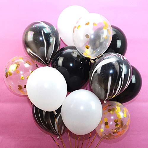 24Pcs Gold Confetti and Agate Marble Ballons,Black and White Latex Ballons for Baby Shower Birthday Wedding Graduation Retirement Party Decorations ()