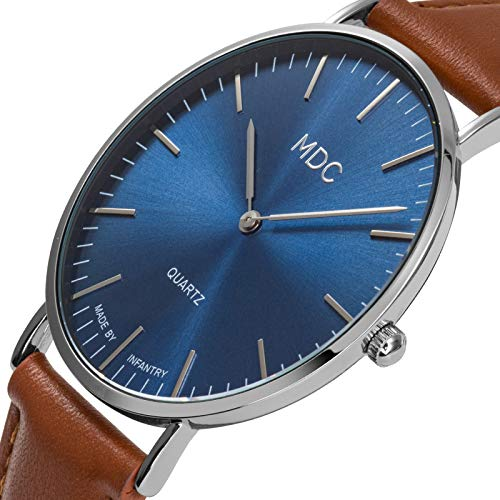 MDC Mens Brown Leather Watch Minimalist Wrist Watches for Men Blue Dress Wristwatch Ultra Thin