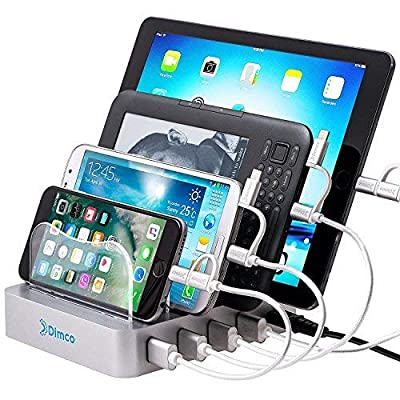 Dimco USB Fast Charging Station - Compatible with Apple iPhone iPad Smart Charging Station - Android 4 Port Multiple Charger - Fire Tablet Micro USB Cell Phone Docking Station for Multiple Devices