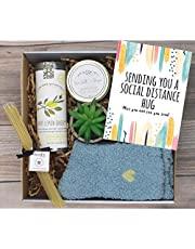 UnboxMe Care Package For Women | Feel Better Soon Get Well Soon Gift | Stress Relief Gift Self Care Encouragement Gift Nurse Gift Bff Gift, Cancer Gift Happy Birthday Gift (Social Distance Hugs Card)