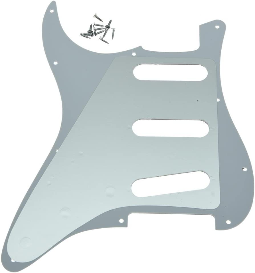 Dopro 11 Hole Vintage 62 Strat ST SSS Single Coil Pickups Guitar Pickguard Scratch Plate with Screws for American Fender 62 Stratocaster White 1 Ply