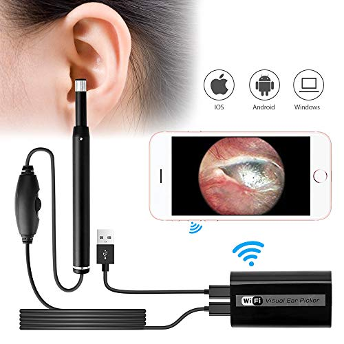 Wireless Ear Otoscope Ear Scope Wifi Ear Endoscope Inspection Camera for iPhone with 6 Adjustable Waterproof LED Light Video Ear Wax Remover for IOS/Android/PC Black