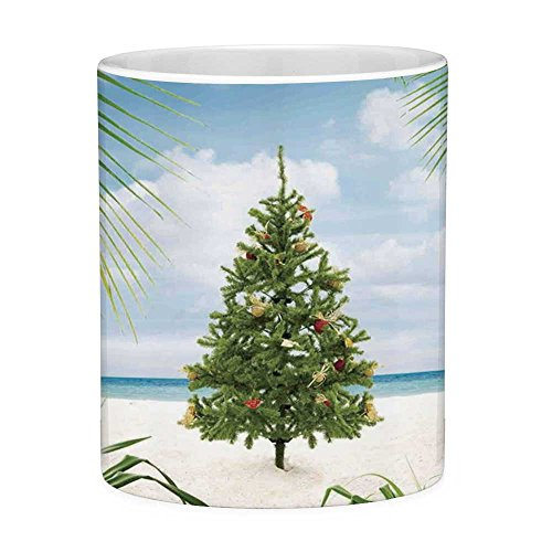 Lead Free Ceramic Coffee Mug Tea Cup White Christmas Decorations 11 Ounces Funny Coffee Mug Tree with Tinsel and Ornaments Tropic Island Sandy Beach Party Green Blue Cream