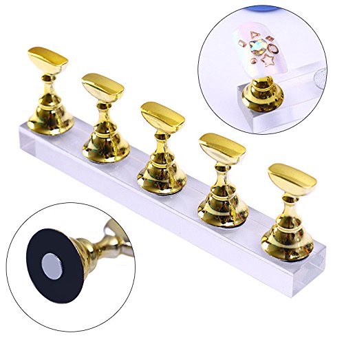 SODIAL New Magnetic Acrylic Manicure Tools Nail Practice Hand Nail Exercises Pedestal Nail Supplies Nail Tips Display Stand gold