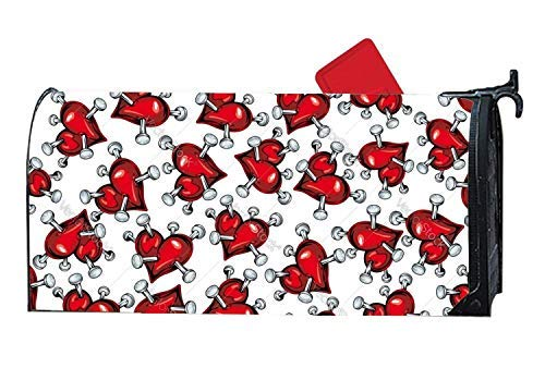 Tollyee - Red Hearts Pierced by Nails Magnetic Mailbox Cover Outdoor Magnetic Magnetic Mailbox Cover 9