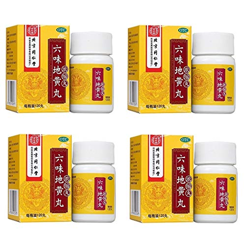 4 Boxes of 120 Count, Tong Ren Tang - Liu Wei Di Huang Wan (Six Flavor Rehmanni Pills), Extra High Concentration - with US English -
