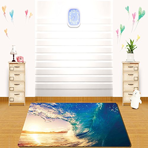 HAIXIA rugs Ocean Decor Ocean Wave at Sunrise Reflection on Surface Tropical Trees Shoreline Summertime Picture Teal Gold -