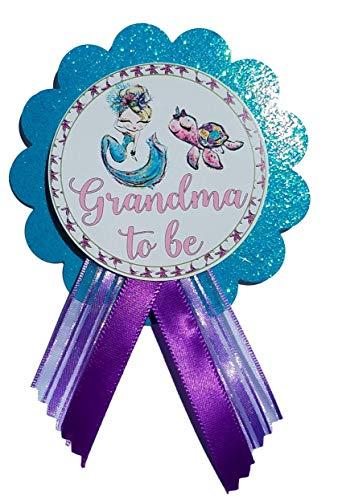 Mermaid Baby Shower Grandma Pin to wear Purple & Turquoise Pin, It's a Girl, Baby Sprinkle ()