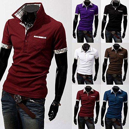 Rosso Corta Boom Fashion Basic Semplice Uomo Manica Collo Polo Classico Da qvq7T