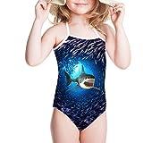 girls shark swimsuit - HUGS IDEA Shark Pattern Little Girls One Piece Swimwear Halter Beach Bathing Suit Blue Swimsuit