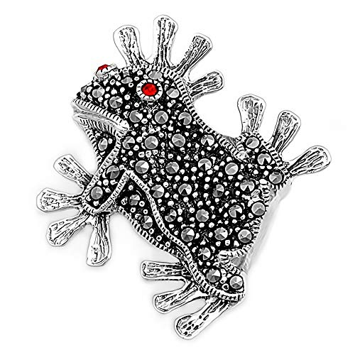 Glitzs Jewels 925 Sterling Silver Brooch (Frog) | Cute Jewelry Gift for Women (Red CZ)