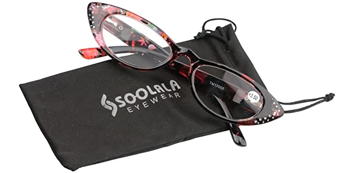 532bae9c87 SOOLALA Ladies 50mm Lens Retro Fashion Designer Rhinestones Cat Eye Reading  Glasses