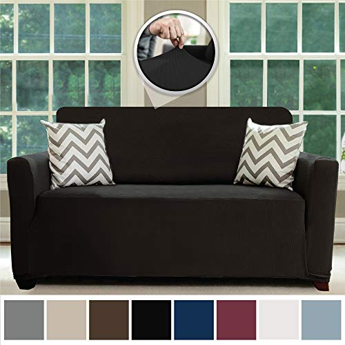 Sofa Shield Original Fitted 1 Piece Loveseat Slipcover, Soft, Stretch, Seat Width Up to 54 Inch Furniture Protector, Washable Covers for Loveseats, Spandex Fit Slip Cover, Love Seat, Black Onyx (Under $100 Loveseats Cheap)
