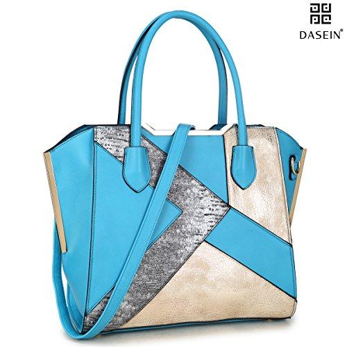 Dasein Women's Designer Patchwork Textured PU Leather Domed Satchel Handbag Shoulder Bag Purse W/Strap (6282 Turquoise) - Patchwork Satchel Purse