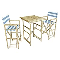 Zew SET-007-6-22 1 High Square Table and 2 High Director Chairs, Navy and White Stripe