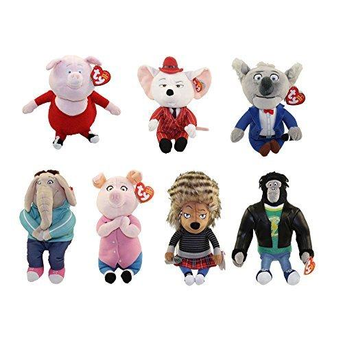 (TY Beanie Babies - SING - SET OF 7 (Ash, Buster, Gunter, Johnny, Meena, Rosita & Mike))