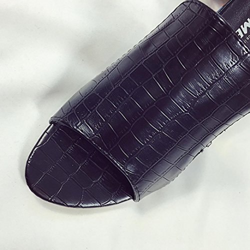 JIANGFU Damen Diamant Dick mit Hohen Pantoffeln, Mode Strass Dicke Heels Slipper Frauen Sandalen Party Flip Flop Schuhe Black