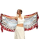 Pure Cotton Wearable Artistic Hand Painted & Printed Cherry Red Owl Scarf Shawl Wrap