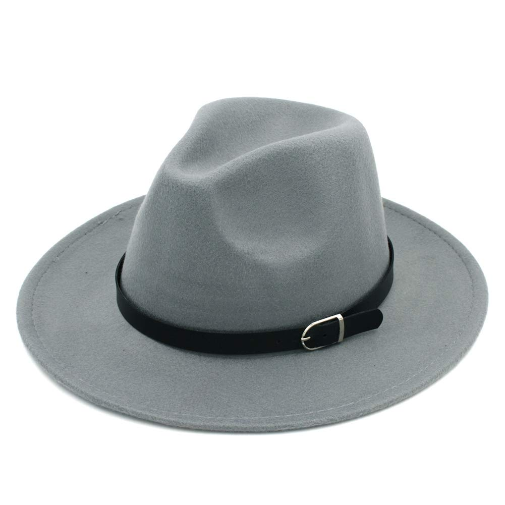 Unisex Fashion Fedora Hat Solid Color Felt Caps Elegant Manhattan Hats