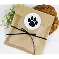 Cookie Favor Bag Set with Sticker and Satin Ribbon. Set of 25 Ready-to-Use, 8x6x1 Eco-Friendly Kraft Paper Party Gift Bags,Stickers & Ribbon. Brown, Black, White