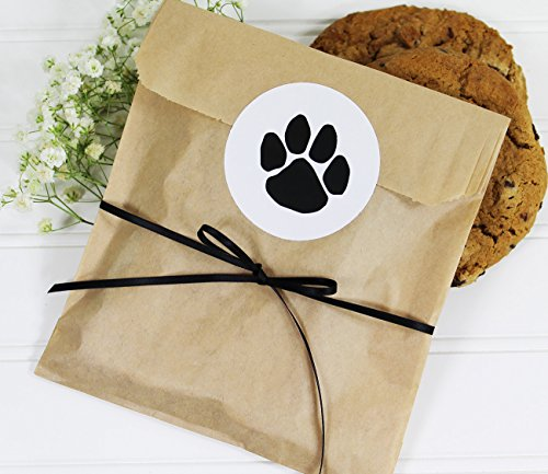 - Cookie Favor Treat Bag Set with Dog Paw Print Sticker and Satin Ribbon. Set of 25 Ready-to-Use, 8x6x1 Eco-Friendly Paper Party Gift Bags, Stickers and Ribbon. Brown, Black, White.