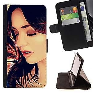 BullDog Case - FOR/Samsung Galaxy S4 IV I9500 / - / beautiful woman hair face lips sexy /- Monedero de cuero de la PU Llevar cubierta de la caja con el ID Credit Card Slots Flip funda de cuer
