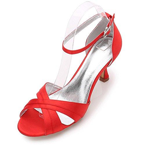 L@YC Las Mujeres de Las Señoras de La Tarde de La Boda ML17061-33 Party Peep Toe Sandals Shoes Size/Marfil/Plata/Azul Red