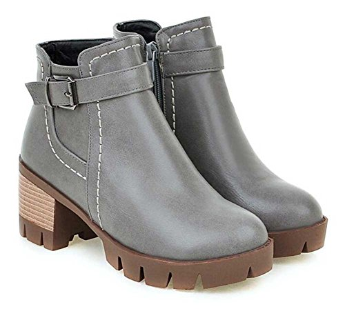 CHFSO Womens Fashion Solid Round Toe Zipper Buckle Mid Chunky Heel Platform Ankle Boots Gray 7bjmM8T