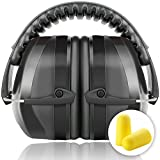 Fnova 34dB Highest NRR Safety Ear Muffs - Professional Ear Defenders for Shooting, Adjustable Headband Ear Protection / Shooting Hearing Protector Earmuffs Fits Adults to Kids (Black2)