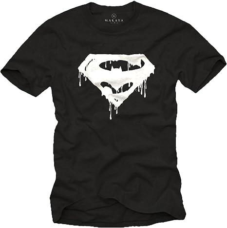 MAKAYA Superheroe - Camiseta Negra Hombre: Amazon.es: Ropa y accesorios
