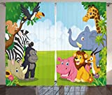 Ambesonne Kids Decor Curtains, Kids Decor Children Nursery Room Safari Themed Cartoon Animals Image Art Print, Living Room Bedroom Window Drapes 2 Panel Set, 108W X 90L Inches, Multicolor