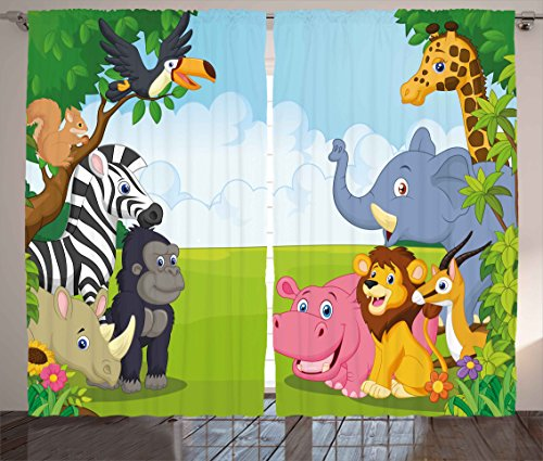 Ambesonne Kids Decor Curtains, Kids Decor Children Nursery Room Safari Themed Cartoon Animals Image Art Print, Living Room Bedroom Window Drapes 2 Panel Set, 108W X 84L Inches, Multicolor by Ambesonne