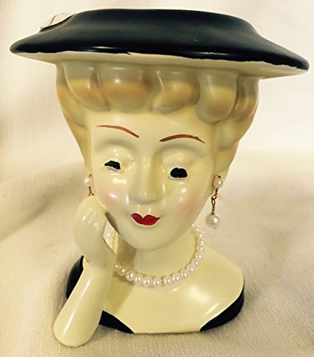 Lady Head Vase with Black Hat and Jewels