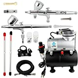 Ophir®Nail Tool 0.2mm 0.3mm 0.5mm 2-Airbrush Gravity Dual-Action Kit Tank Air Compressor for Professional Nail Art