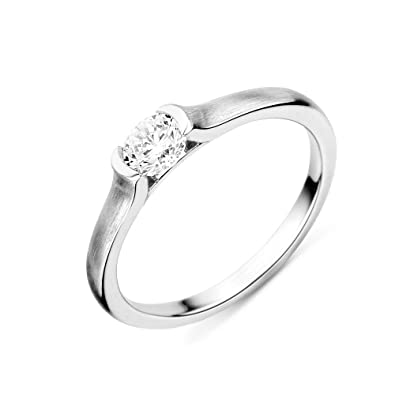 Miore Women's 925 Sterling Silver Round Cubic Zirconia Ring vvLL2efcZ