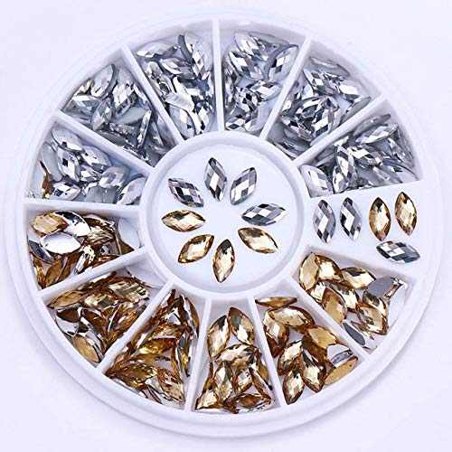 (Nail Art Accessories - Opal AB Color Nail Rhinestone Colorful Marquise Heart Flat Bottom Manicure 3D Nail Decoration in Wheel - Rhinestones For Nails Rhinestones For Crafts - Pattern)