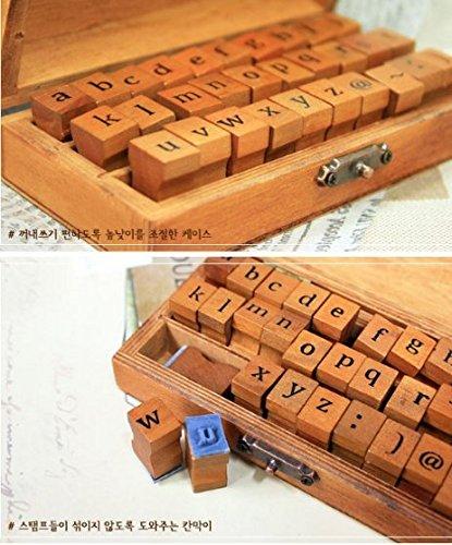 in valigetta vintage in legno 30PCS ab.. Cvictims timbri in gomma e legno con lettere dellalfabeto e numeri