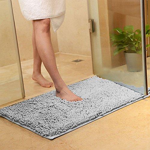 (BeesClover 40X60CM Microfibre Non Slip Soft Carpet Water Absorbing Bathroom Shower Kitchen Rug Mat Decoration Silver)