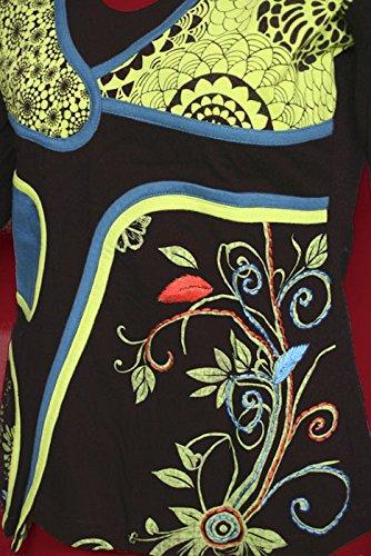 Dark florales Dreams Top Longsleeve Shirt Patchwork Lagenlook florales Dark Design Secret Garden 1daa54