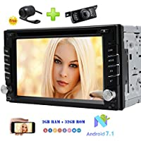 Front & Rear Camera Included Android 7.1 Car Stereo Double Din 6.2 con 1024600 HD Resolution Touch Screen In Dash Car DVD Player Car GPS Navigation Bluetooth Radio RDS SWC DAB+ OBD2 3G/4G WIFI