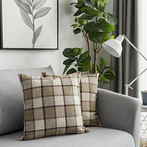 UGASA 5 Tone Classic Retro Checkered Plaids Cotton Linen Cushion Cover Square Throw Pillow Cover Modern Farmhouse Cushion Shams Pillowcase for Sofa, 18x18 inch(45cm), Set of 2, Natural + Brown ()